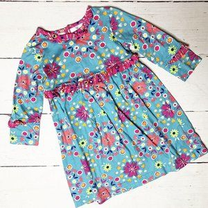 Hanna Andersson Blue Floral Dress 90/3T